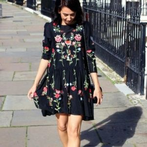 Zara Embroidered Babydoll Dress